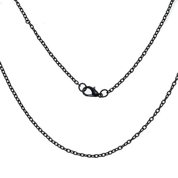 "24"" length - Black color necklace 24"" - Cable Chain with Lobster Clasp - Nickel free - Lead free - 24 inches (2489)"