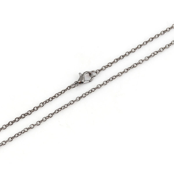 "24"" length - Gunmetal color necklace 24"" - Cable Chain with Lobster Clasp - Nickel free - Lead free - 24 inches (2490)"