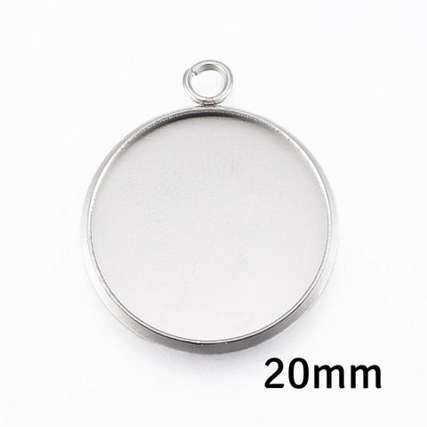 20mm Stainless Steel tray Pendant - 20mm 304 Stainless Steel cabochon settings - 20mm blank tray - round pendant tray with loop (2494)