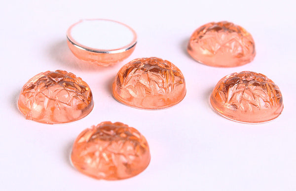 11mm Peach baroque cabochons - Pastel orange textured cabochon with Silver Foil - 6 pieces (110)