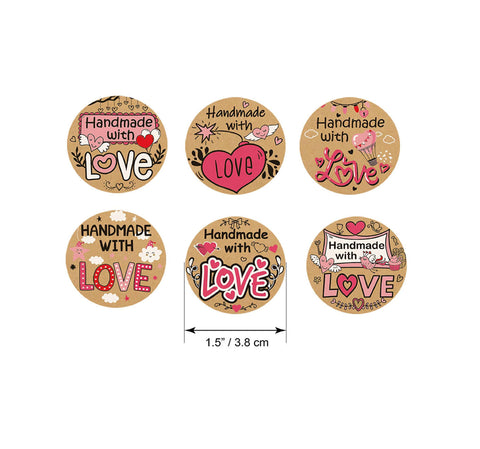"Handmade with love stickers - Hand made with love labels - 1.5"" round labels - message label - Mixed label (2496)"