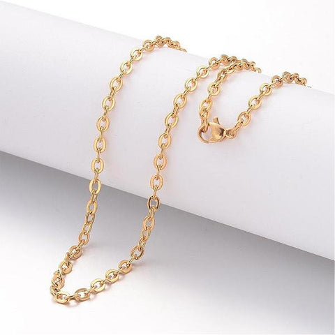 "20"" length - Vacuum Plating 304 Stainless Steel Necklace - Cable Chain - Gold color chain - Cable with Lobster Clasp - 20 inches (2497)"