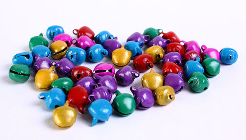 Bell metal pendants beads mixed color - 8mm x 10mm - 50 pieces (181)
