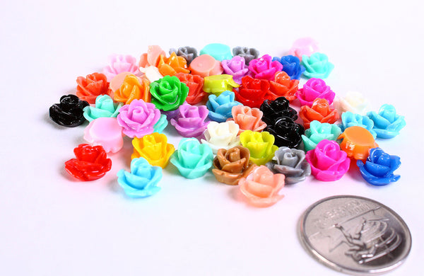 10mm flower cabochons - Mixed color - Rose cabochons - Rosebud cabochons - Mix cabochons - 10 pieces (182)