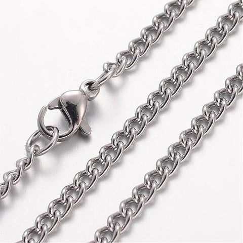 "24"" length - Stainless steel necklace - Curb Chain with Lobster Clasp - 24 inches - Lead free - Cadmium free (2498)"