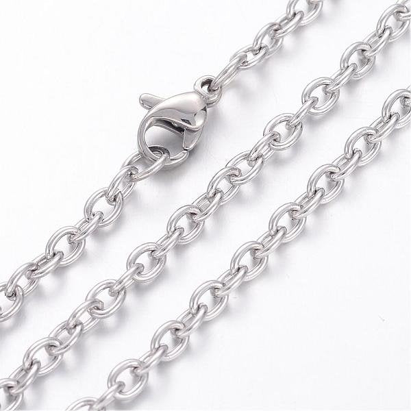 "24"" length - Vacuum Plating 304 Stainless Steel Necklace - Cable Chain - Chain with Lobster Clasp - 24 inches (2499)"