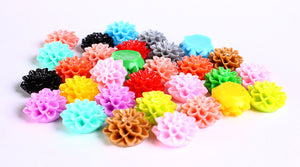 15mm mixed color mum cabochons - 15mm chrysanthemum cabochon - 15mm dahlia cabochon - flower cabochon - 6 pieces (221-pairs)