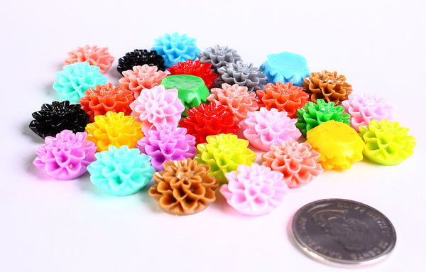 15mm mixed color mum cabochons - 15mm chrysanthemum cabochon - 15mm dahlia cabochon - flower cabochon - 10 pieces (221)
