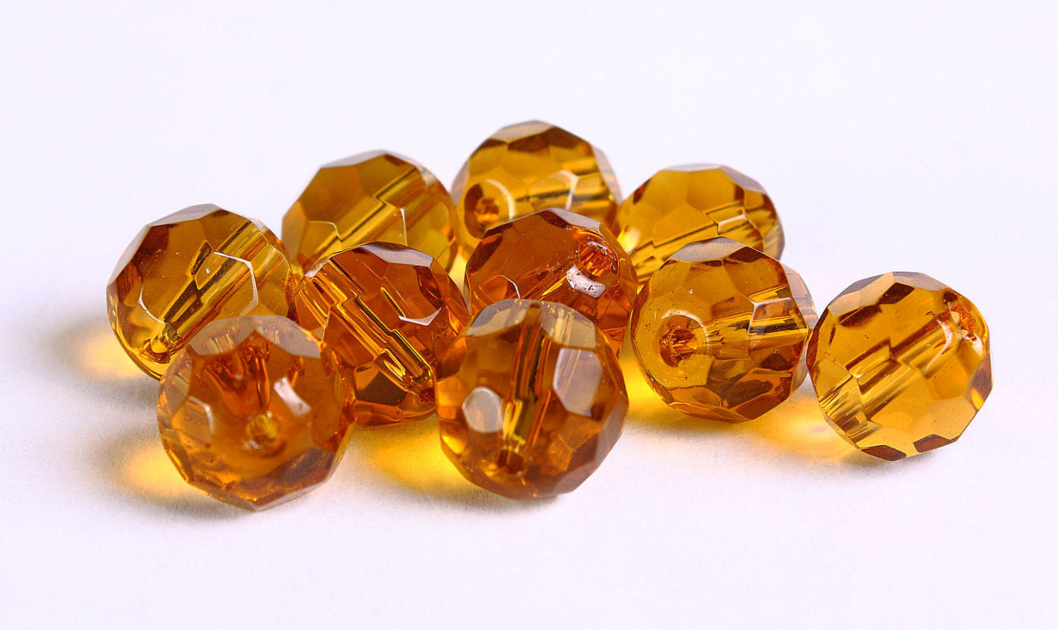 10mm Topaz brown firepolish faceted round glass bead - Faceted beads - Rich color beads - 10 pieces (240)
