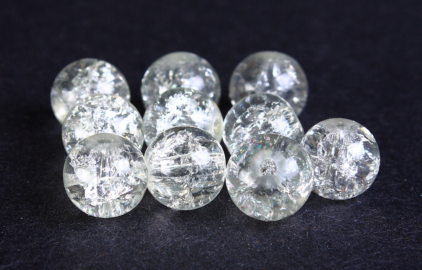 10mm Clear crackled beads - 10mm transparent round beads - 10mm crackle glass bead - 10 pieces (234)