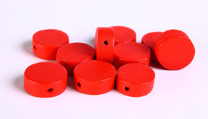13mm Red wood beads - Red large lens beads - Red disk beads - 10 pieces (270)
