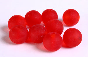 12mm Red handmade frosted lampwork beads - 12mm round glass beads - 10 pieces (276)