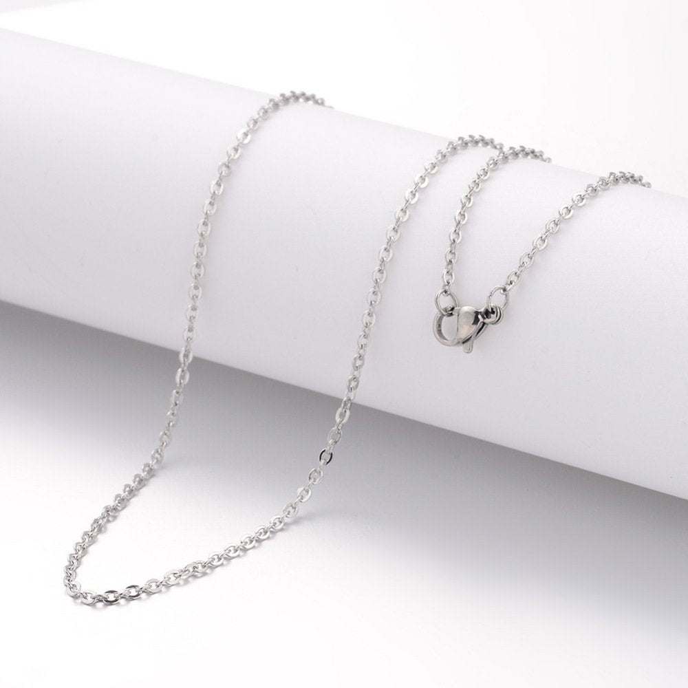 "18"" length - Stainless steel necklace 18"" - 2.4mm x 2mm - Cable Chain with Lobster Clasps - 18 inches (2508)"