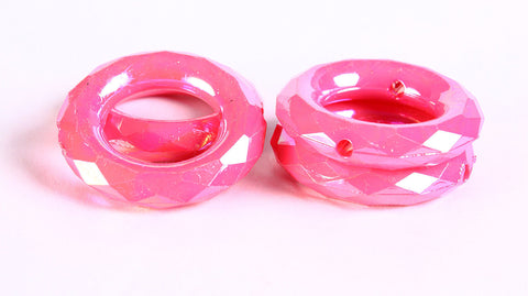 35mm Pink rondelle AB color faceted beads - round beads - 4 pieces (352)