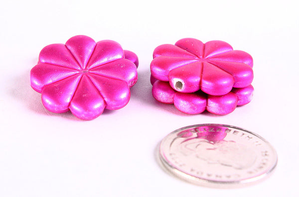 23mm Hot pink rubber flower beads - 4 pieces (367)