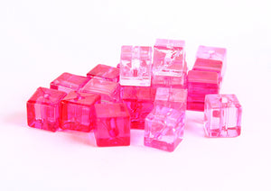 7mm Pink fuschia transparent cube beads - 7mm square resin beads - Shades of pinks - 20 pieces (362)