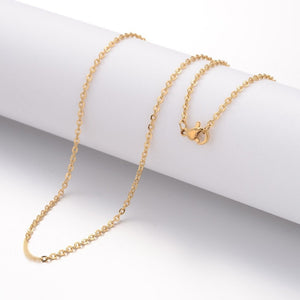 "18"" length - Vacuum Plating 304 Stainless Steel Necklace - Cable Chain - Gold color chain - Chain with Lobster Clasp - 18 inches (2513)"