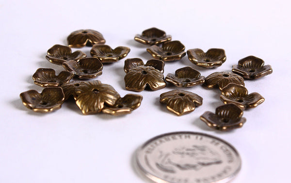 11mm antique brass rustic bead caps - 11mm organic beadcaps - 11mm flower beadcaps - Nickel free - Lead free - 20 pieces (403)