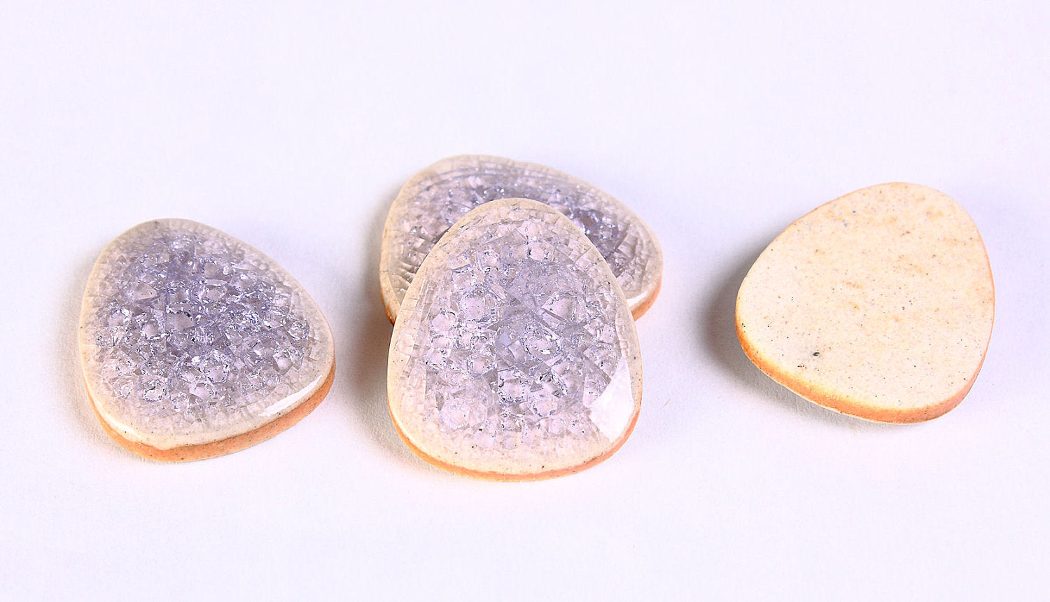 Purple crackle porcelain cabochons - Purple flat drop cabochon - 20mm x 16mm - 4 pieces (417)