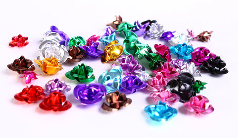 Aluminum rose cabochons - flower cabochon beads - mixed color - 6mm to 12mm - 50 pieces (422)