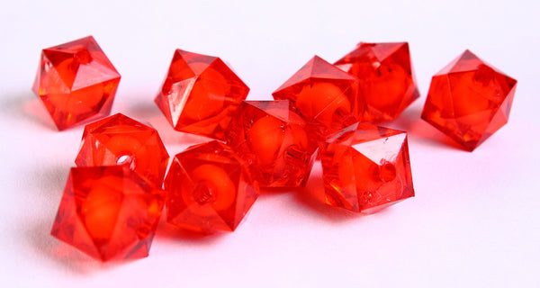 12mm red miracle beads - bead in bead - faceted cube beads - Gumball Bead - Clear beads - Gum ball beads - 10 pieces (443)