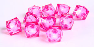 12mm hot pink miracle beads - pink beads - bead in bead - faceted cube beads - Gumball Bead - Gum ball beads - 10 pieces (444)