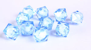 12mm blue miracle beads - bead in bead - faceted cube beads - Gumball Bead - Clear beads - Gum ball beads - 10 pieces (445)