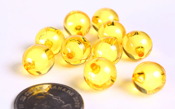 12mm Yellow miracle beads - bead in bead - Round beads - Gumball Bead - Clear beads - Gum ball beads - 10 pieces (450)