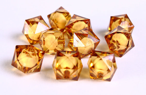 12mm brown miracle beads - bead in bead - topaz faceted cube beads - Gumball Bead - Clear beads - Gum ball beads - 10 pieces (446)