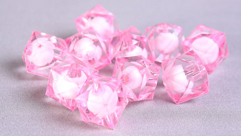 12mm pink miracle beads - bead in bead - faceted cube beads - Gumball Bead - Clear beads - Gum ball beads - 10 pieces (449)
