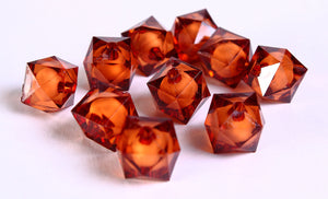 12mm brown miracle beads - bead in bead - topaz miracle beads - faceted cube beads - Gumball Bead - Gum ball bead - 10 pieces (448)