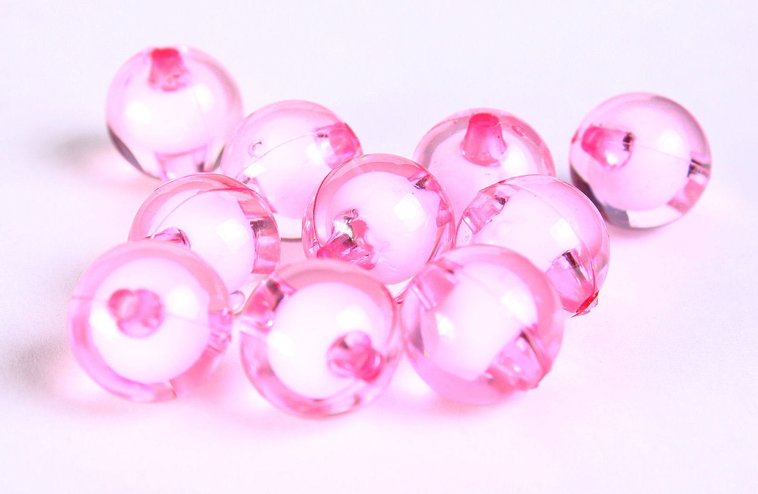 12mm pink miracle beads - bead in bead - Round beads - Gumball Bead - Clear beads - Gum ball beads - 10 pieces (453)
