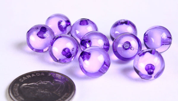 12mm Purple miracle beads - bead in bead - round beads - Gumball Bead - Clear beads - Gum ball beads - 10 pieces (454)