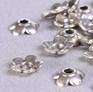 6.5mm Petite flower bead caps - Tibetan Silver flower beadcaps - 6.5mm flower beadcaps - rustic bead caps - 40 pieces (424)