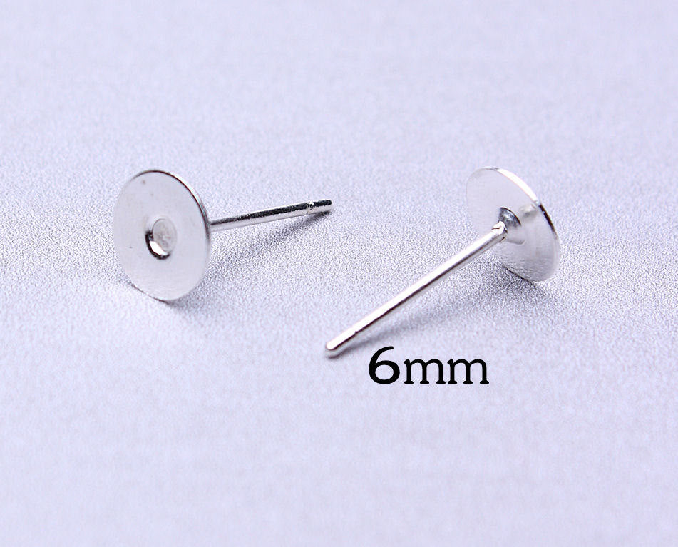 6mm earstud - silver color findings flat pad - Lead free - Cadmium free - 30 pieces (473---)