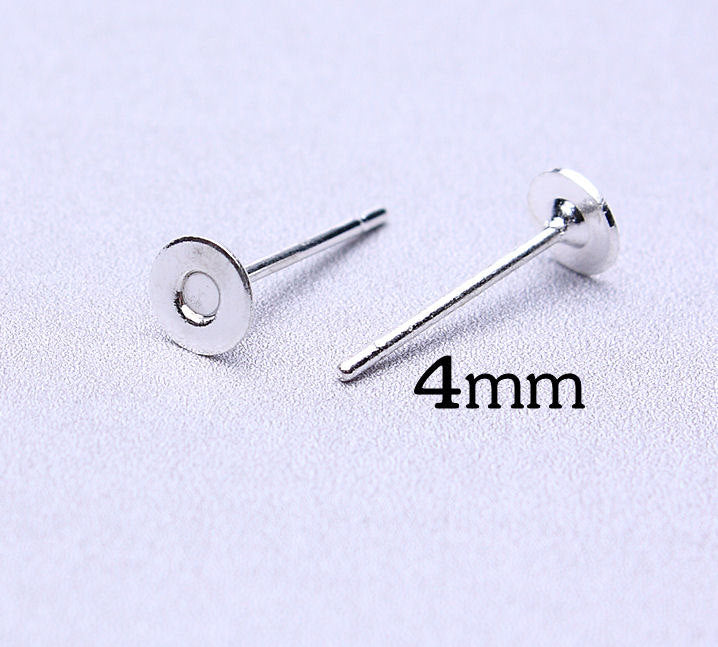 4mm silver earstud - flat pad earrings - lead free - cadmium free - 30 pieces (456---)
