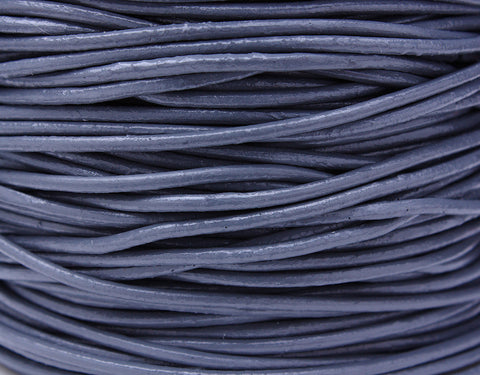 2mm Grey cowhide leather cord - Grey cowhide round leather cord - 10 feet (482)