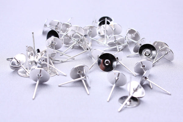 8mm earstud dark silver color findings flat pad - Nickel free - lead free - cadmium free - 30 pieces (1688---)