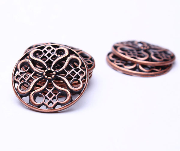 24mm Tibetan filigree flower pendant bead - antique copper links - Nickel free - Lead free - 8 pieces (488)