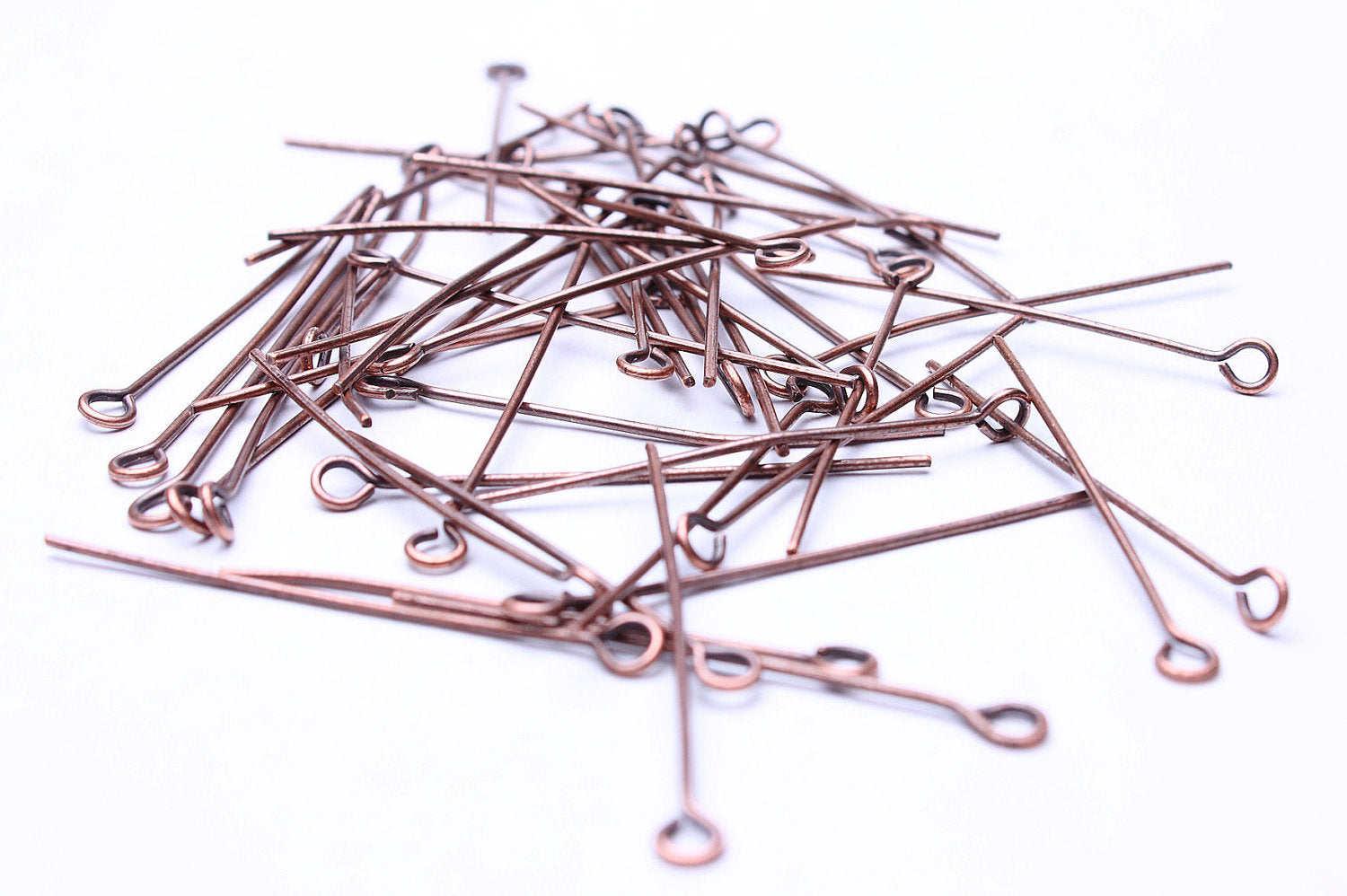 35mm antique copper eyepins - nickel free - lead free - 50 pieces (492)