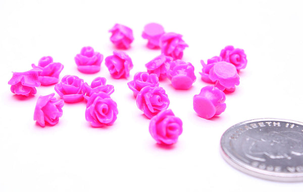 7.5mm hot pink flower cabochons - rosebud cabochons - resin cabochons - petite flower cabochons - 3d cabochons - 10 pieces (503)