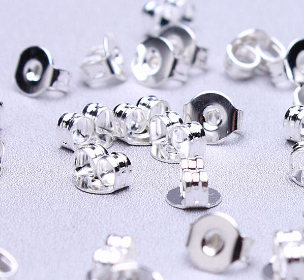 Silver Earring back stopper - earring stoppers earnuts - 5mm x 4mm - Lead free - Nickel free - 50 pieces (494)