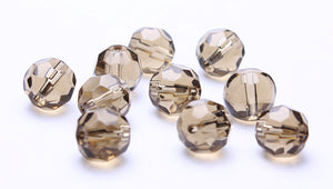 10mm grey faceted glass beads - gray glass beads - smoke glass beads - smokey fire polished glass beads - 10 pieces (201)