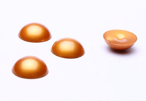 11mm Gold cabochons - 11mm opaque cabochons - Dome cabochons - 4 pieces (523)