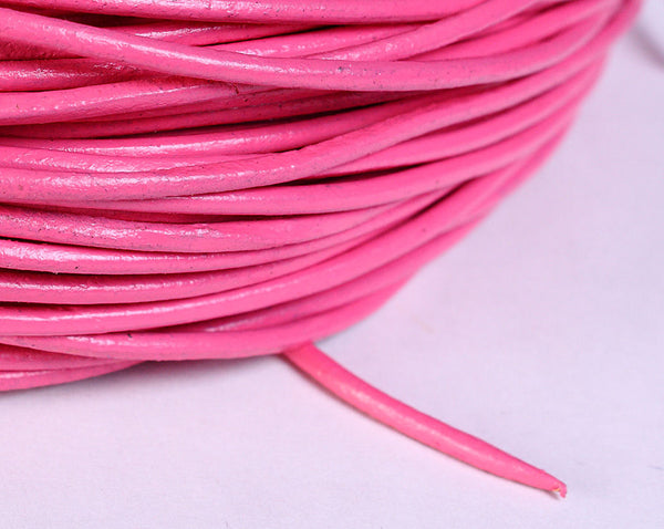 2mm pink cowhide round leather cord - 10 feet (526)