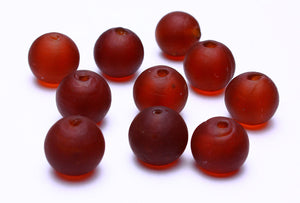 12mm chocolate matte lampwork beads - 12mm brown handmade frosted lampwork beads - 12mm round glass bead - 10 pieces (528)