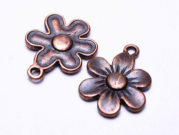 22mm Antique copper flower charm - Antique copper flower pendant - Daisy charm - Country Style charm - 6 pieces (535)