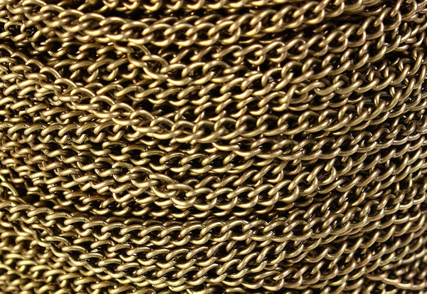 3.7mm x 2.5mm antique brass twist chain - antique bronze twist chain - 10 feet (548)
