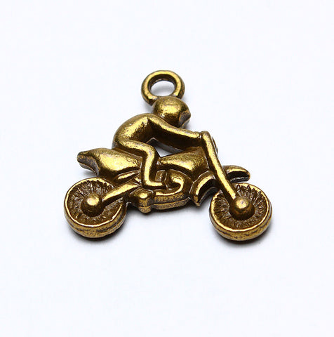 Antique brass motorcycle charm - Moto pendants - 22mm - 4 pieces (577)