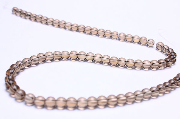 4mm Grey glass beads - gray glass beads - smokey round glass bead - 1 strand (581)